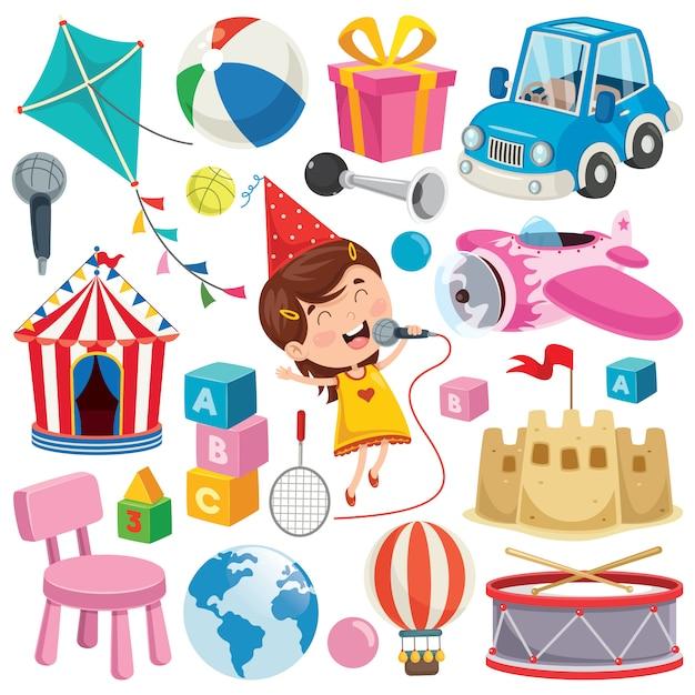 Verzameling kleurrijke speelgoed en objecten Premium Vector