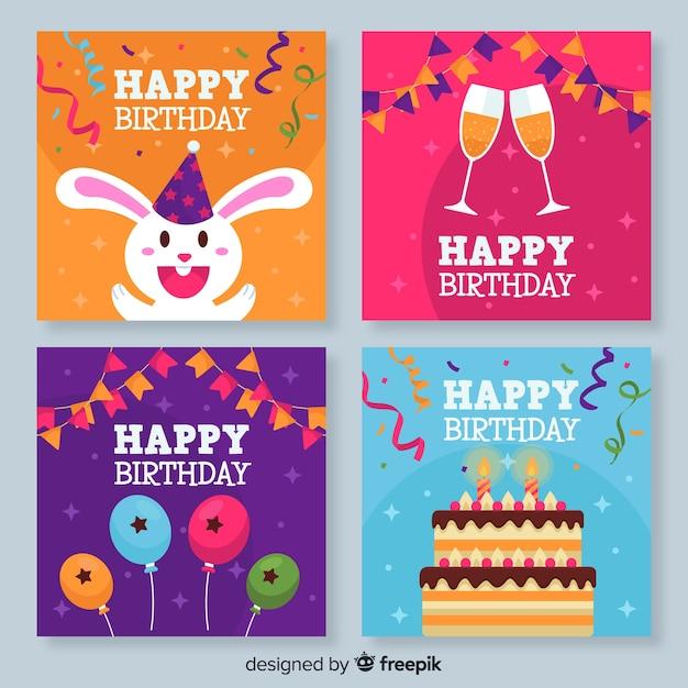 Verzameling kleurrijke verjaardagskaarten Gratis Vector