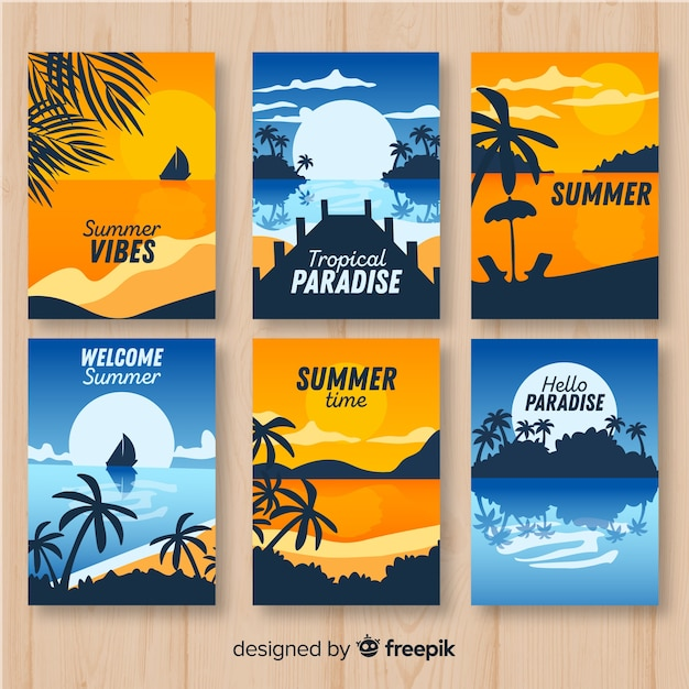 Verzameling kleurrijke zomerposters Gratis Vector