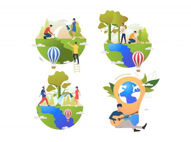 Verzameling mensen die voor de aarde zorgen Gratis Vector