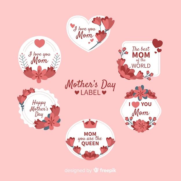 Verzameling moederdag-badge Gratis Vector