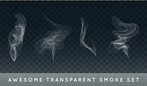 Verzameling of set van realistische sigarettenrook of mist of haze. Premium Vector