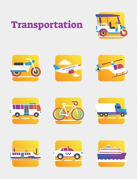 Verzameling openbaar en commercieel vervoer Premium Vector