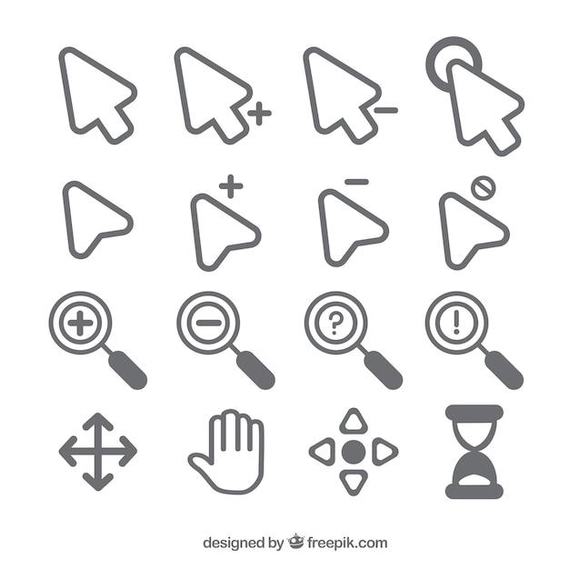 Verzameling platte cursor Gratis Vector