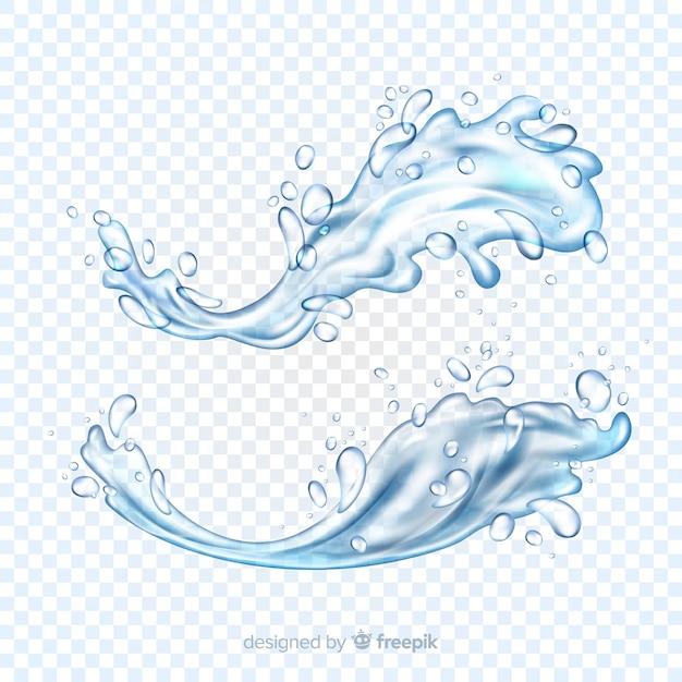 Verzameling realistische waterspatten Gratis Vector