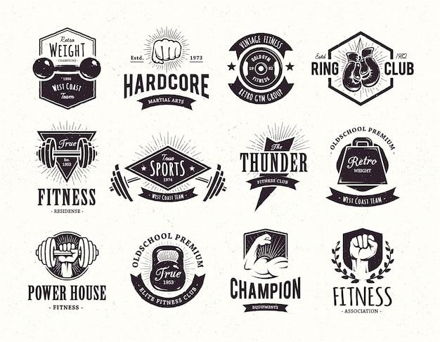 Verzameling retro emblemen Gratis Vector