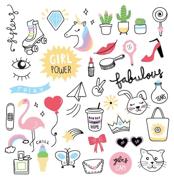Verzameling schattig meisje dingen in doodle stijl Premium Vector