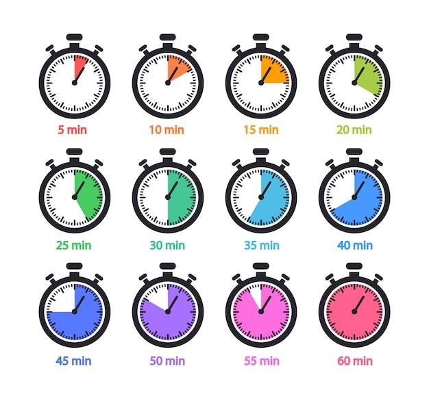 Verzameling timers en stopwatchs. 5,10,15,20,25,30,35,40,45,50,55,60 minuten. Premium Vector