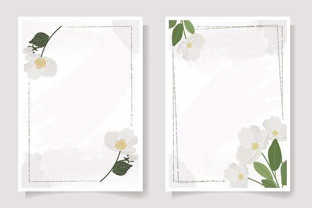 Verzameling uitnodigingskaart met bloemen en bladeren Premium Vector