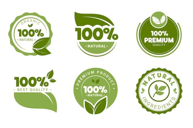 Verzameling van 100% natuurlijk groen label Premium Vector