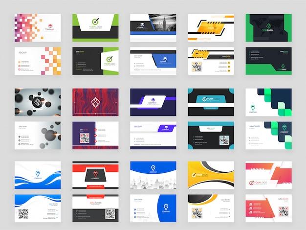 Verzameling van 15 moderne horizontale visitekaartje Premium Vector