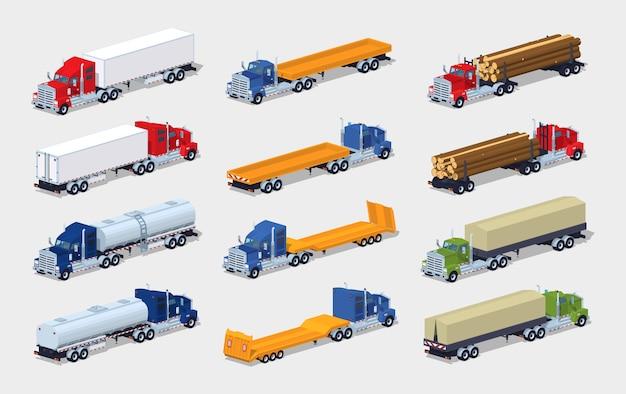Verzameling van 3d lowpoly isometrische vrachtwagens met opleggers Premium Vector