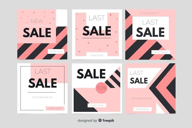Verzameling van abstracte verkoop banner voor sociale media Gratis Vector