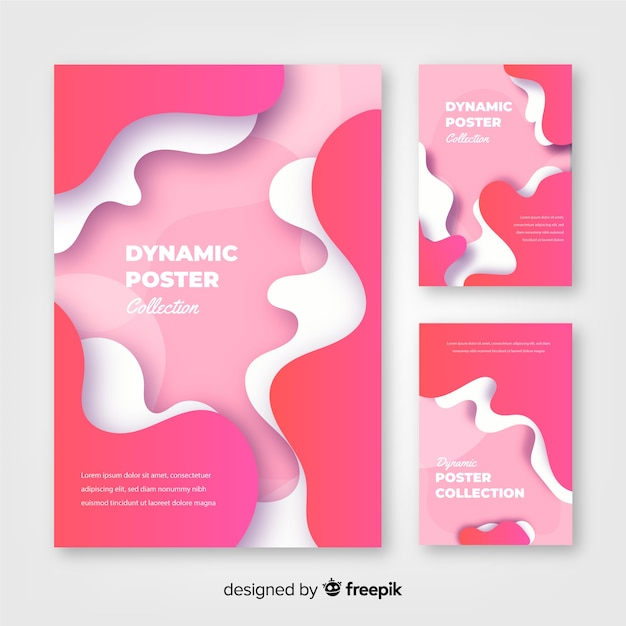 Verzameling van achtergronden met dynamische vormen in beweging Gratis Vector