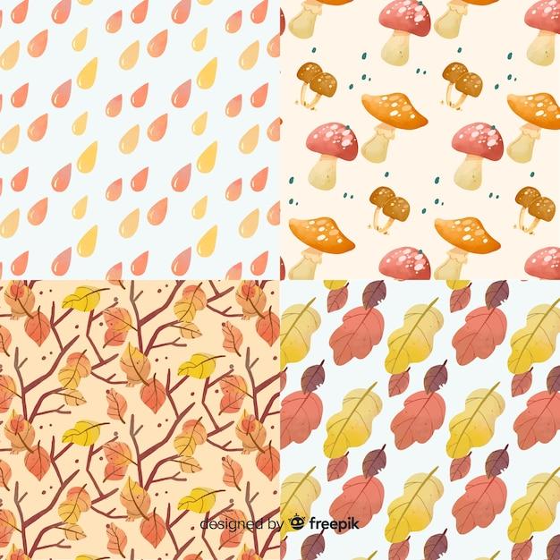 Verzameling van aquarel herfst patronen Gratis Vector
