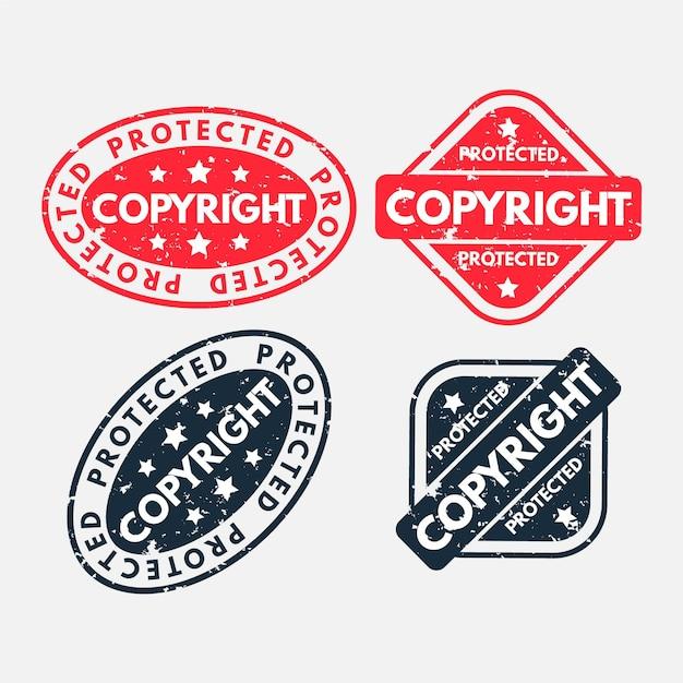 Verzameling van auteursrechtzegels Premium Vector