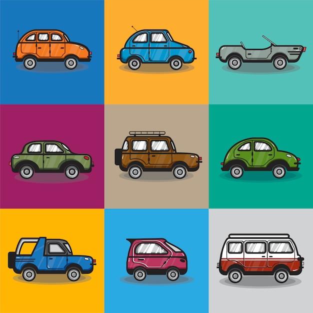 Verzameling van auto's en vrachtwagens illustratie Gratis Vector
