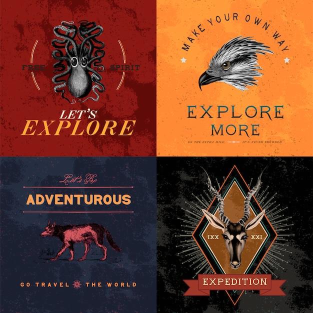 Verzameling van avontuur logo ontwerp vectoren Gratis Vector