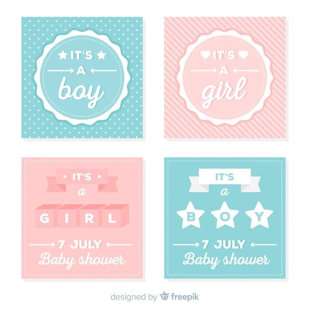 Verzameling van baby shower kaarten Gratis Vector