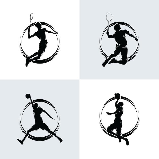 Verzameling van badminton- en basketballogo Premium Vector