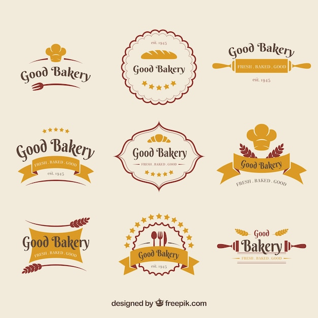 Verzameling van bakkerij logo's in vlakke stijl Gratis Vector