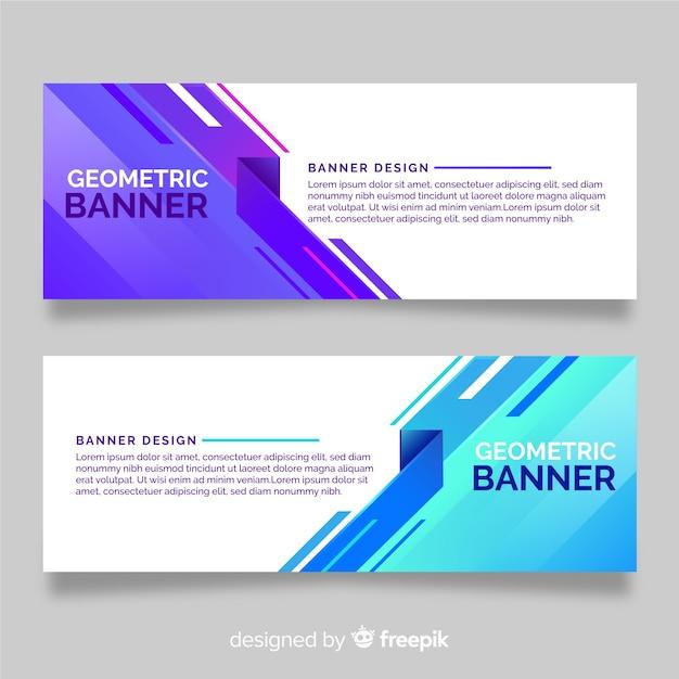 Verzameling van banners met geometrische vormen Gratis Vector