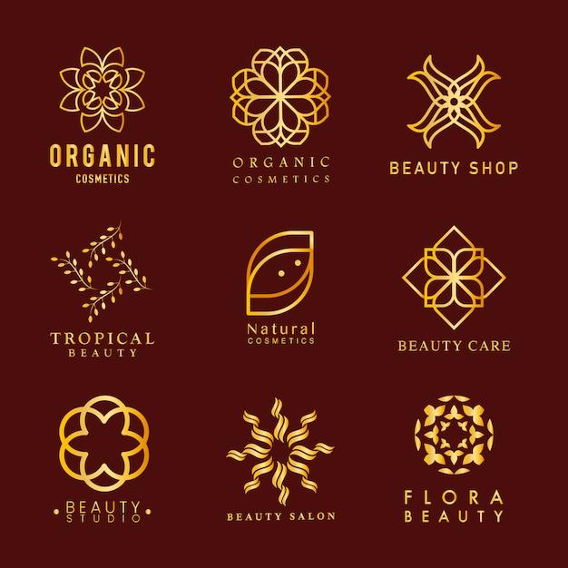 Verzameling van biologische cosmetica logo vector Gratis Vector