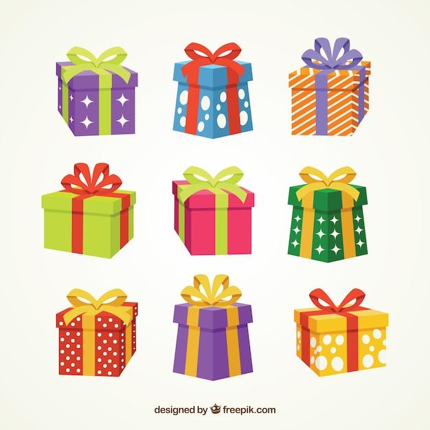 Verzameling van cadeau doos met boog Premium Vector