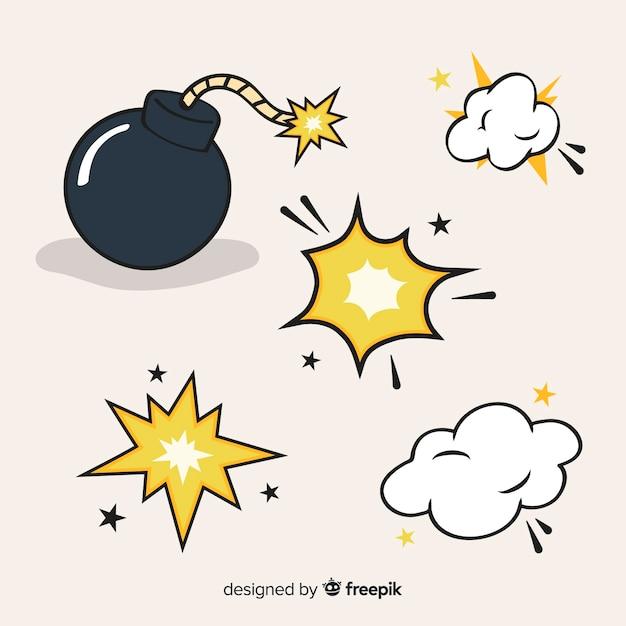Verzameling van cartoon explosie-effecten Gratis Vector