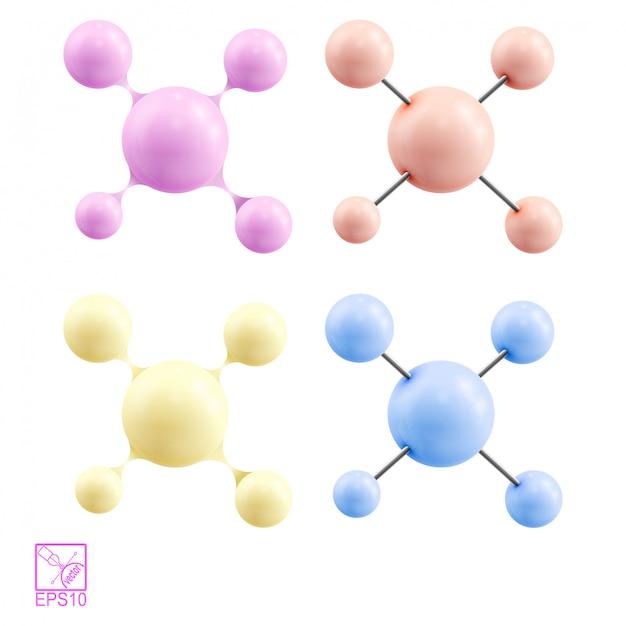 Verzameling van chemische moleculen Premium Vector