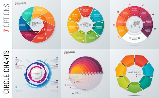 Verzameling van cirkel grafiek infographic sjablonen Premium Vector