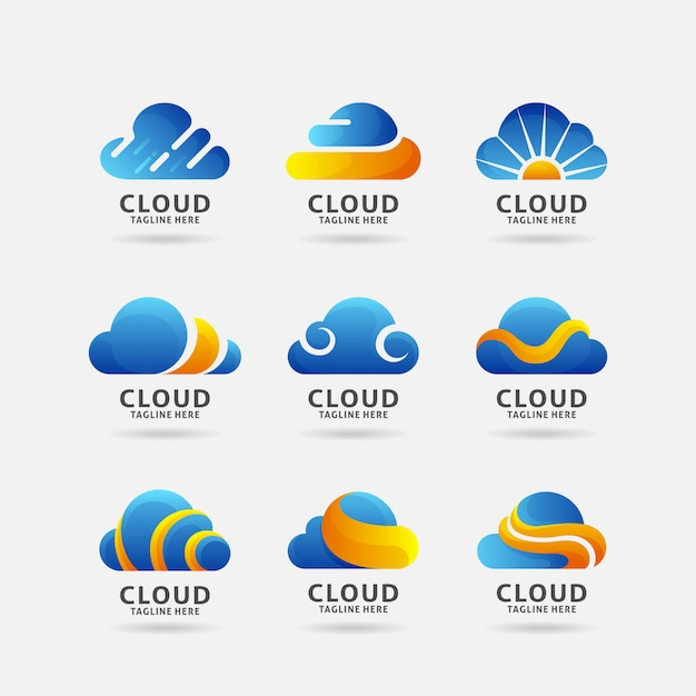Verzameling van cloud-logo Premium Vector