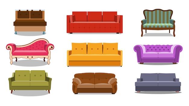 Verzameling van comfortabele lounge voor interieur Premium Vector