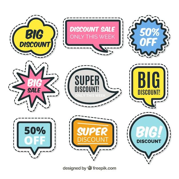 Verzameling van creatieve verkoop sticker Gratis Vector