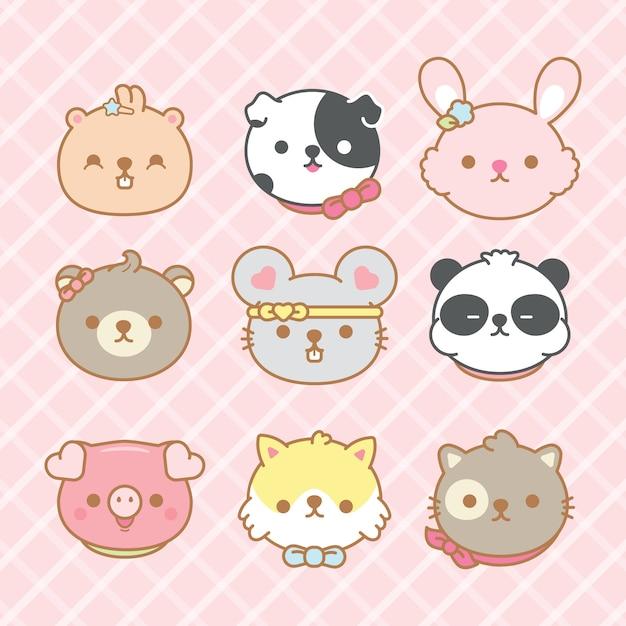 Verzameling van cute cartoon dieren. Premium Vector