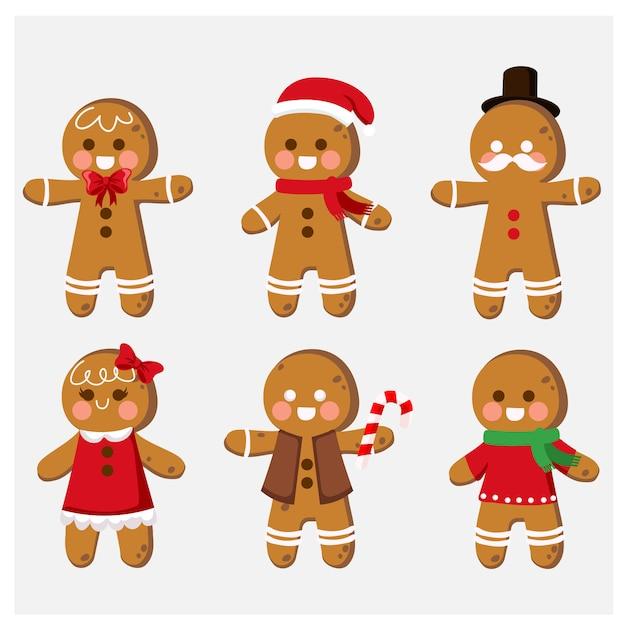 Verzameling van cute cartoon gingerbread man cookies illustraties Premium Vector