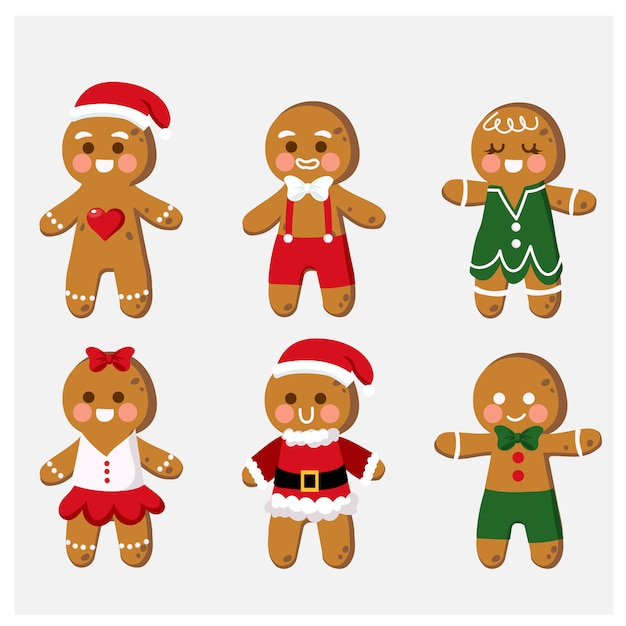 Verzameling van cute cartoon gingerbread man cookies illustraties Premium Vector