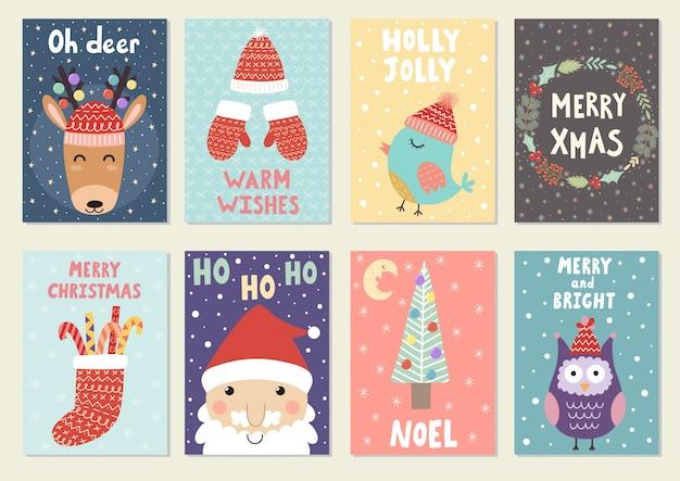 Verzameling van cute christmas wenskaarten. ansichtkaarten en prenten met rendieren, santa, uil en vogel. Premium Vector