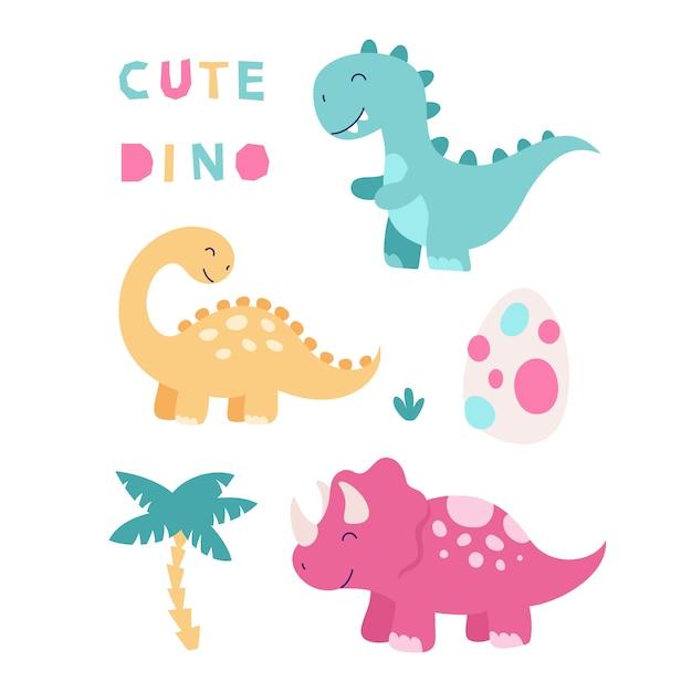 Verzameling van cute geïsoleerde dinosaurussen. triceratops, brontosaurus, tyrannosaurus, ei, tropische bladeren. illustratie voor kinderen. Premium Vector