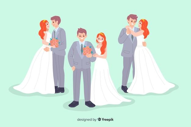 Verzameling van cute hand getrokken bruidspaar Gratis Vector