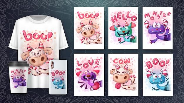 Verzameling van cute tekens tekenen voor poster en merchandising Premium Vector