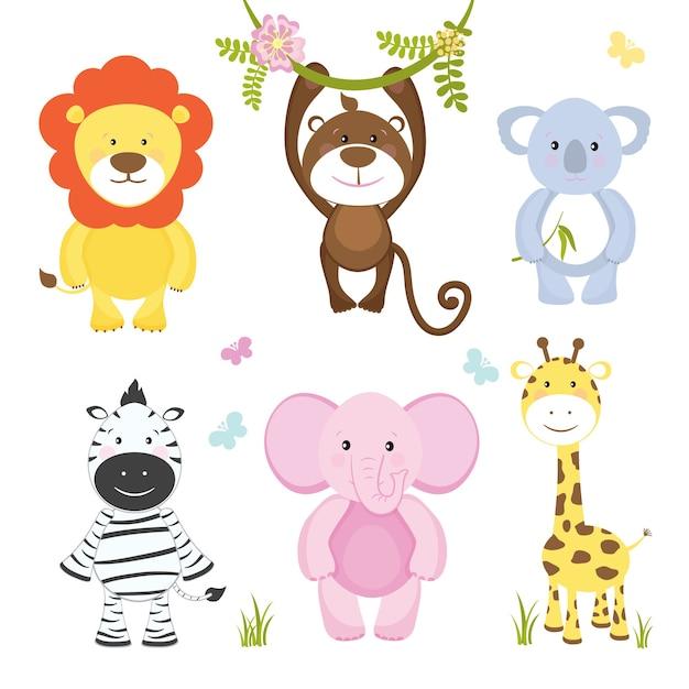 Verzameling van cute vector cartoon wilde dieren met een aap opknoping van een tak leeuw roze olifant koala beer zebra en giraffe geschikt voor kinderen illustraties geïsoleerd op wit Gratis Vector