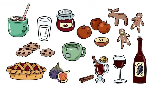 Verzameling van cute voedsel doodles. hygge voedselstickers voor planners en notebooks. Premium Vector