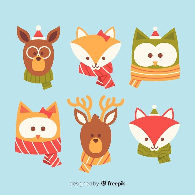 Verzameling van cute winter animales Gratis Vector