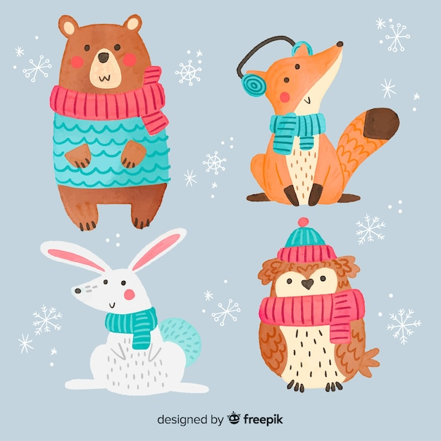 Verzameling van cute winter animales Gratis Vector