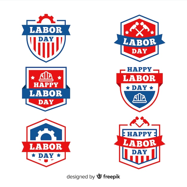 Verzameling van dag van de arbeid badges platte ontwerp Gratis Vector