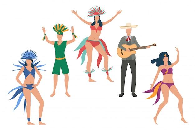 Verzameling van dansers in traditionele kostuums Gratis Vector
