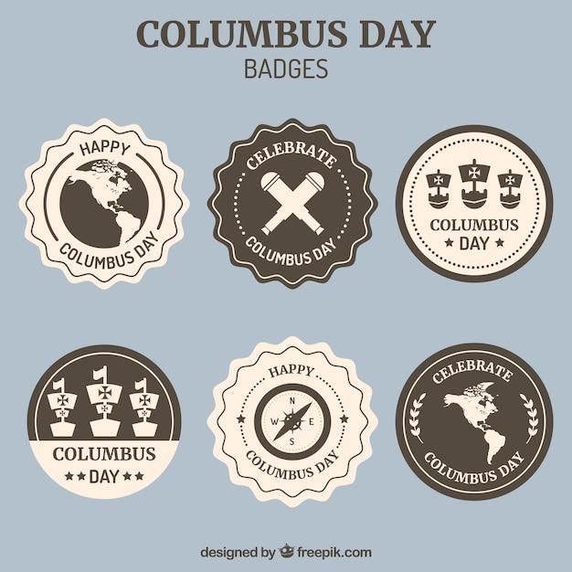 Verzameling van decoratieve badges voor de dag van columbus Gratis Vector