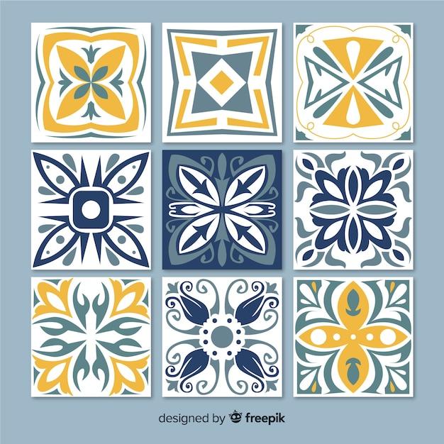 Verzameling van decoratieve tegels Gratis Vector