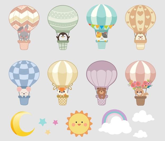 Verzameling van dieren op hete lucht ballonnen Premium Vector